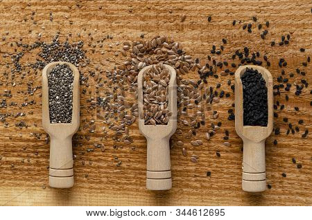 Useful Seed. Proper Nutrition With The Addition Of Seeds. Chia Seeds. Flax Seeds. Sesame Seeds.