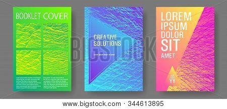 Brochure Layout Design Templates. Pink Blue Green Rainbow Waves Textures. Business Brochure Vector C