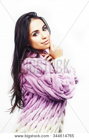 Young Pretty Latin American Brunette Girl Happy Smiling Posing Cheerful Isolated On Hite Background,