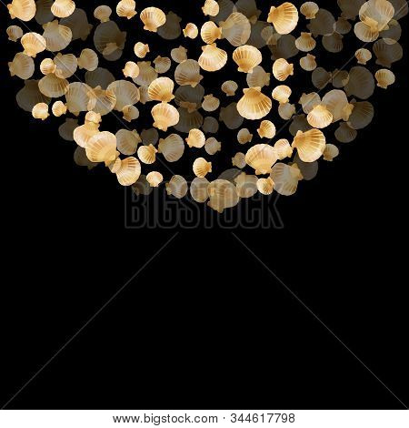 Gold Seashells Vector, Golden Pearl Bivalved Mollusks. Oceanic Scallop, Bivalve Pearl Shell, Marine