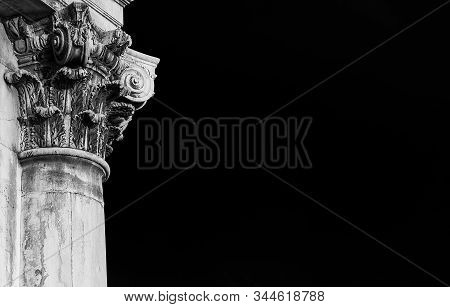 Classical architecture in Venice. Corinthian column and capital from Gesuati Church facade, erected in the 18th century (Black and White with copy space) poster