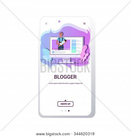Mother Blogger Holding Baby Family Vlog Blogging Social Media Network Live Streaming Concept Materni