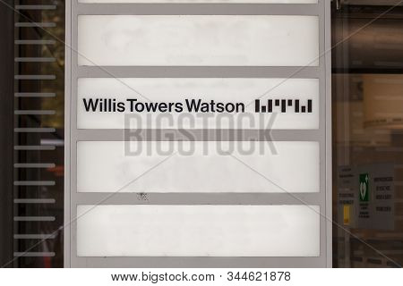Prague, Czechia - October 31, 2019: Willis Towers Watson Logo In Front Of Their Office For Prague. W