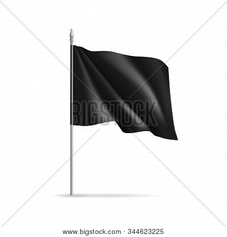 Black Rectangular Flag On Flagpole Isolated On White. Realistic Expo Banner For Outdoor Presentation