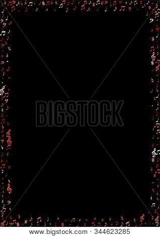 Pink Flying Musical Notes Isolated On Black Backdrop. Red Musical Notation Symphony Signs, Notes For