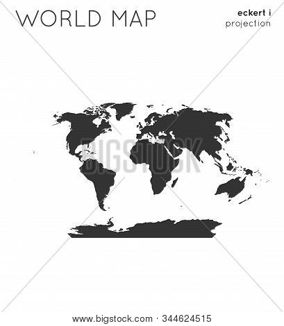 World Map. Globe In Eckert I Projection, Plain Style. Modern Vector Illustration.