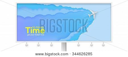 Billboard With Flying Airplane On Abstract Blue Background. Multi Layered Composition Carved From Pa