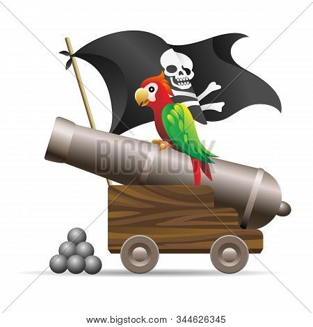 Medieval Cannon Illustration. Antique Pirate Cannon With Parrot, Cannonballs And Jolly Roger Blackja
