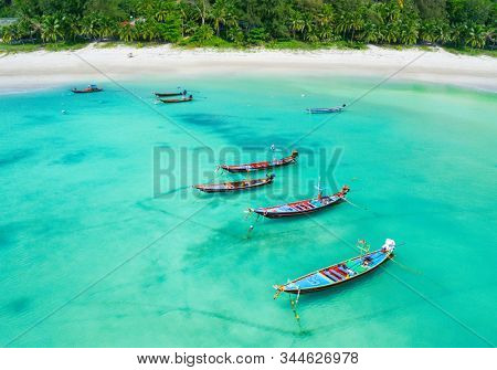 Aerial view of longtail boats and tropical sea, Thailand
