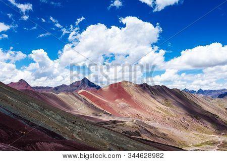 Rainbow Mountains Of Peru. Near The City Of Cuzco. Peruvian Andes. Ausangate Mountain. Tourist Place