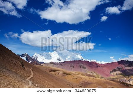View Of The Glacier Near The Rainbow Mountains Of Peru. Peruvian Andes. Ausangate Mountain. Valley V