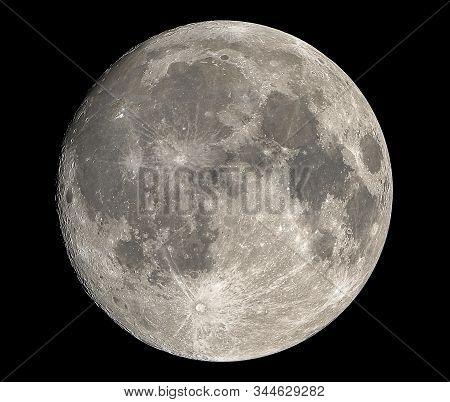 Closeup Full Moon Isolated On Dark Sky In Thailand