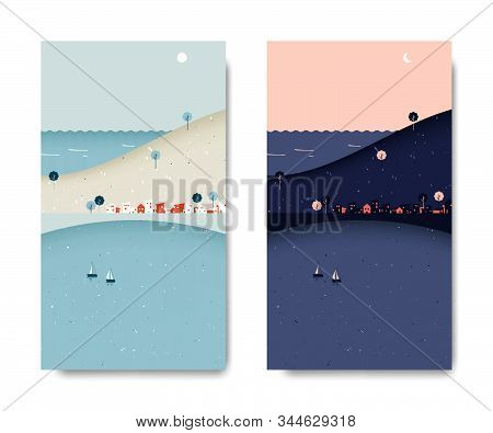 Sea View Scenery Landscape, Small Village With Mountain And Sea View, Day And Night Time Lapse, Post