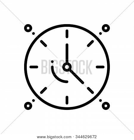 Black Line Icon For Dials Clock Time Analog Timepiece Countdown