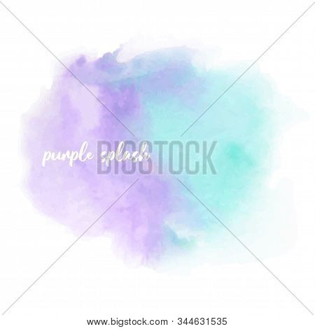 Vintage Watercolor Invitation Template With Violet Blue Water-colour Blotch On Light Background. Liq