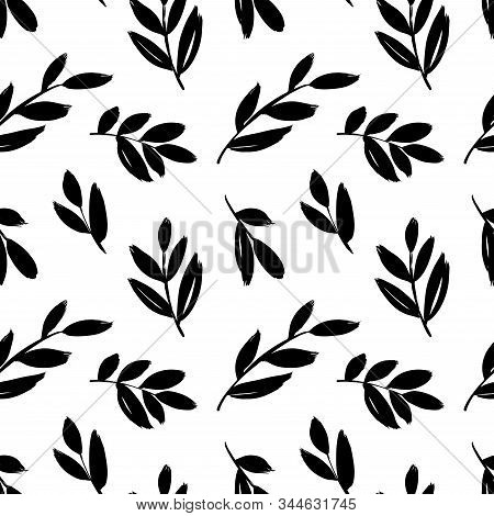 Leaves And Branches Vector Seamless Pattern. Brush Leaves And Twigs. Olive Branch Modern Pattern. Bl
