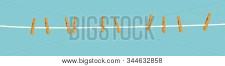 Clothespins On Rope On Blue Background. Set Of Wooden Clips Drawn. Cartoon Flat Design.
