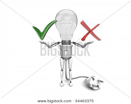 """The robot """"bulb"""" Holds in a hands """"Yes"""" and """"No"""" signs  isolated on a white background"""