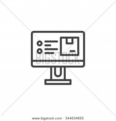 Ecommerce And Delivery Service Line Icon. Linear Style Sign For Mobile Concept And Web Design. Compu