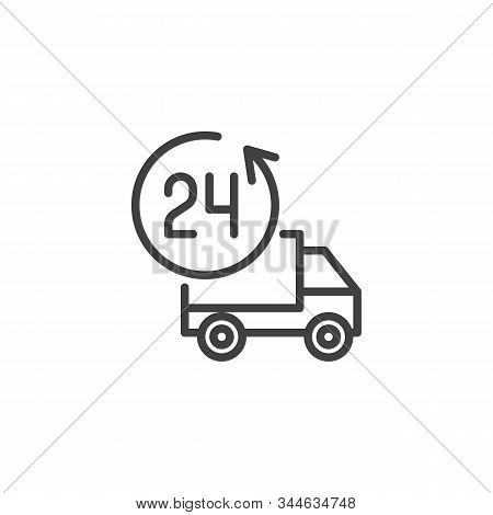 24h Delivery Truck Line Icon. Linear Style Sign For Mobile Concept And Web Design. Twenty Four Hour