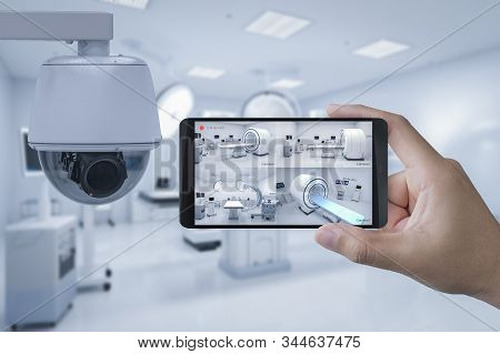 3d Rendering Mobile Connect With Security Camera In Hospital