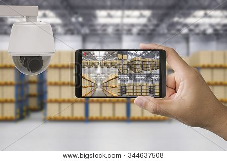 3d Rendering Mobile Connect With Security Camera In Warehouse