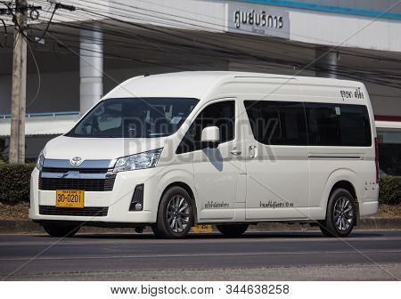 Chiangmai, Thailand - January 9 2020: Private All New Toyota Commuter Van. Photo At Road No.121 Abou