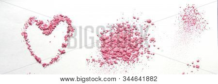 Pink Heart Shaped From Eye Shadow And Powder Isolated On White Background. Love Valentines Day Weddi
