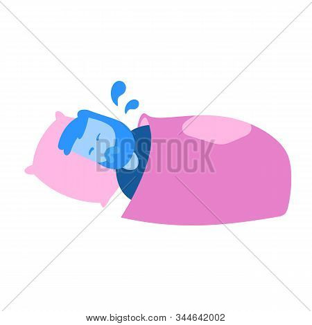 Man Soaked In Sweat Lying In His Bed. Cartoon Design Icon. Flat Vector Illustration. Isolated On Whi