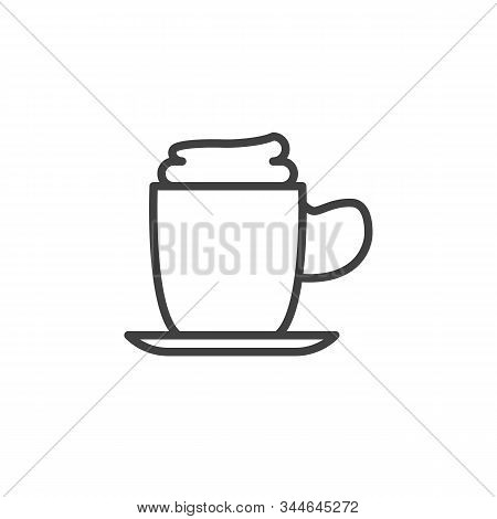 Coffee Mug With Foam Line Icon. Linear Style Sign For Mobile Concept And Web Design. Frappe Drink Cu