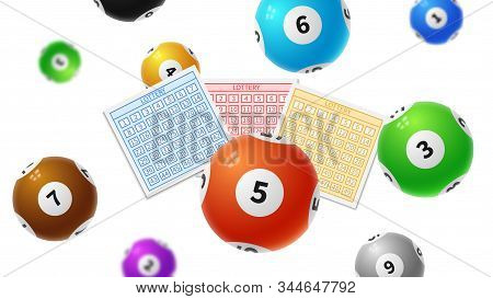 Lottery Balls. Bingo Gaming Victory Tickets, Keno Lottery Play. Success Numbers And Falling 3d Ball.
