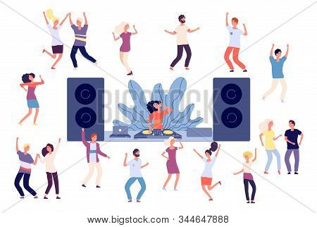Dancing People. Dj Disco Party, Dance Women, Men And Couples. Happy Friends On Music Event, Fun Isol