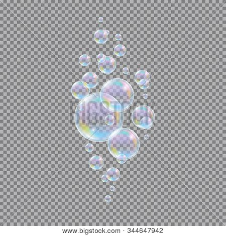 Soap Bubbles. Realistic 3d Water Soapy Balls Isolated On Transparent Background. Abstract Magic Bubb
