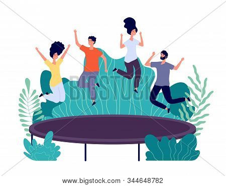 Trampoline Jumping. Young Happy People Jump, Teens Activity. Entertainments In Park, Friends Outdoor