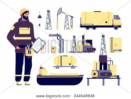Oilman. Oil Industrial Environment, Petroleum Technology. Factory Worker, Tanker Ship, Pipes And Bar