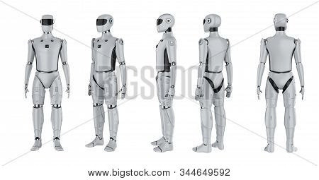 Set Of Artificial Intelligence Cyborgs Or Robots