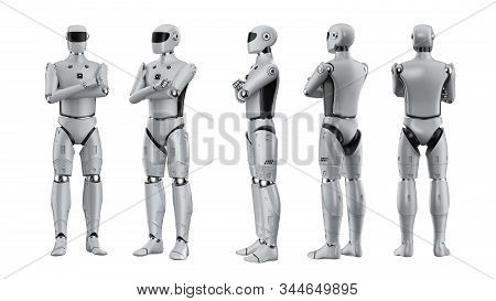 3d Rendering Artificial Intelligence Cyborg Or Robot With White Blank Paper Isolated On White