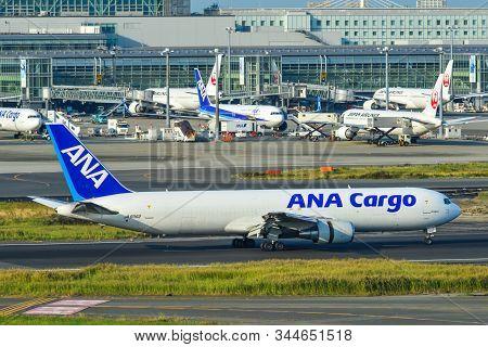 Tokyo, Japan - Nov 2, 2019. Ja8362 All Nippon Airways Boeing 767-300er Taxiing On Runway Of Tokyo Ha