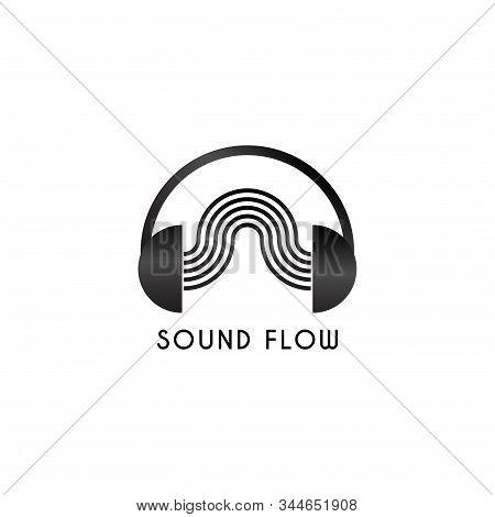 Sound Flow Logo, Headphone & Sound Wave Logo Design Concept, Black And White Audio Logo Design Templ