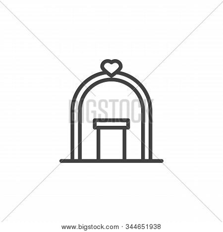 Wedding Arch With Podium Line Icon. Linear Style Sign For Mobile Concept And Web Design. Wedding Cer