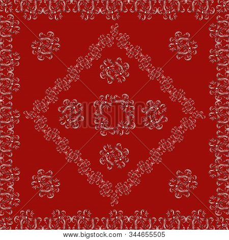 Square Openwork Lace Neckerchief Shawl Tablecloth. White Abstract Pattern, Bright Trendy Stylish Red