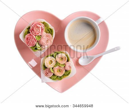 Flower Cupcakes And Cup Of Coffee On Heartshaped Plate Isolated On White Background. Beautiful Spong