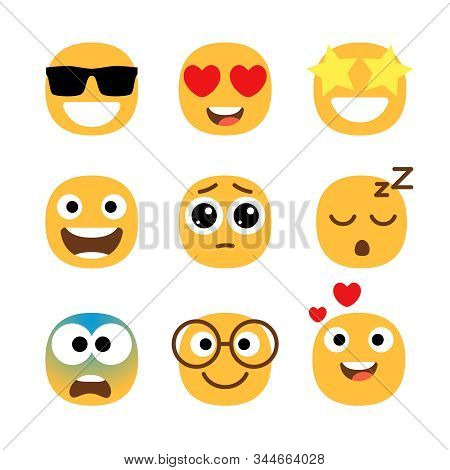 Flat Emoticons Faces. Simple Happy And Funny, Cartoon Smile Set, Wonder And Love With Hearts In Eyes