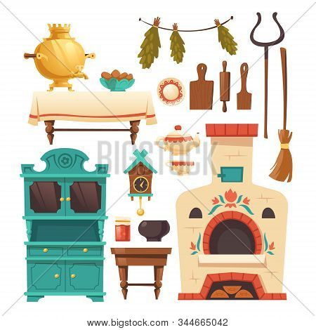 Interior Elements Of Old Russian Kitchen With Oven, Samovar, Cuckoo-clock And Grip. Vector Set Of Tr