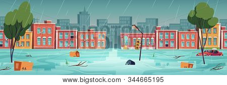 Flood In Town, River, Water Stream On City Street. Natural Disaster With Rainstorm. Vector Cartoon I