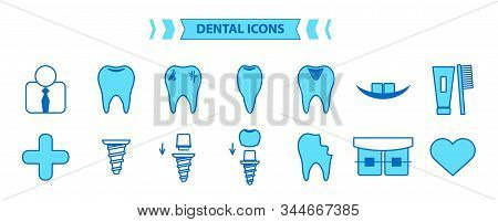 Dental Icons Set. Simple Vector Illustration Isolated