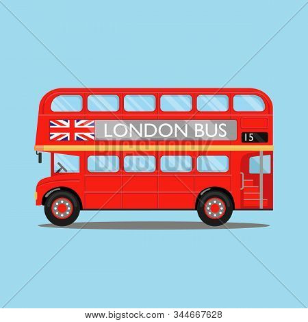 London City Bus On Blue Backgound. Red Double-decker Bus, With British Flag On It, Side View. Vector