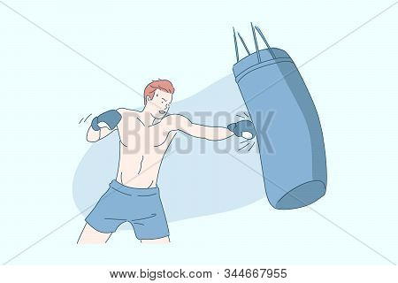 Boxing, Sports Training, Sportsman With Boxing Bag Concept. Punches Technique Practice, Sports Equip