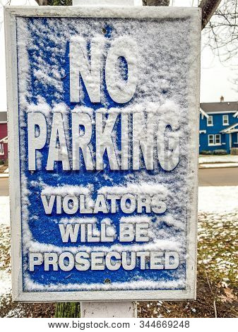 Winter In A Parking Lot In Wisconsin