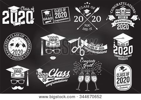 Set Of Vector Class Of 2020 Badges On The Chalkboard. Concept For Shirt, Print, Seal, Overlay Or Sta